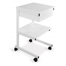 Alumínium asztal: 2 polc+fiók