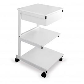 Alumínium asztal: 3 polc+fiók